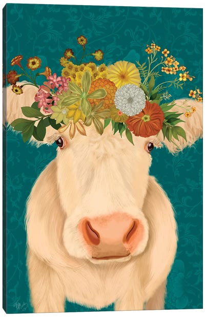 Cow Cream Bohemian 1 Canvas Art Print