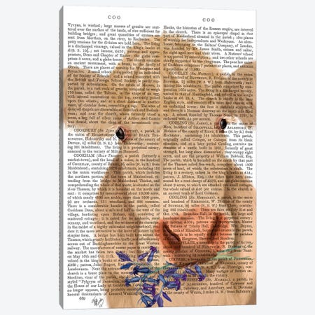 Cow Cream, Bluebells Book Print Canvas Print #FNK1641} by Fab Funky Canvas Art Print