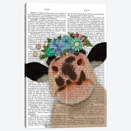 Cow with Flower Crown 2 Book Print Canvas Print #FNK1645} by Fab Funky Canvas Wall Art