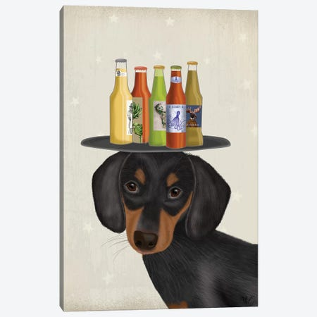 Dachshund Beer Lover Canvas Print #FNK1646} by Fab Funky Canvas Artwork