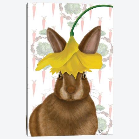 Daffodil Rabbit Canvas Print #FNK1648} by Fab Funky Canvas Art Print