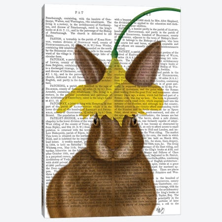 Daffodil Rabbit Book Print Canvas Print #FNK1649} by Fab Funky Canvas Print