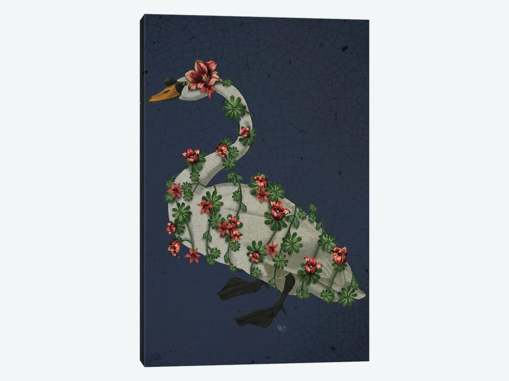 Bound Swan On Blue by Fab Funky 1-piece Canvas Art Print