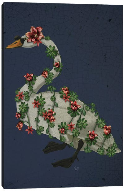 Bound Swan On Blue Canvas Art Print