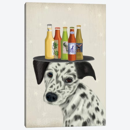 Dalmatian Beer Lover Canvas Print #FNK1650} by Fab Funky Canvas Artwork