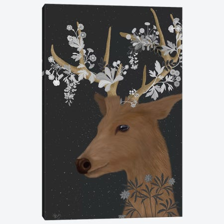 Deer, White Flowers Canvas Print #FNK1651} by Fab Funky Canvas Wall Art
