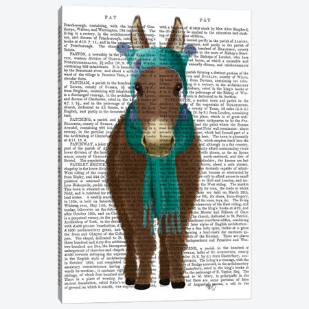 Donkey Blue Hat and Scarf Book Print Canvas Print #FNK1652} by Fab Funky Canvas Wall Art