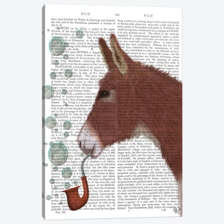 Donkey Bubble Pipe, Portrait Book Print Canvas Print #FNK1667} by Fab Funky Canvas Wall Art