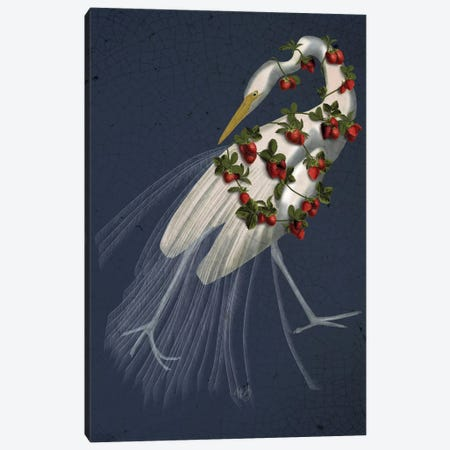 Bound White Heron On Blue Canvas Print #FNK166} by Fab Funky Canvas Artwork