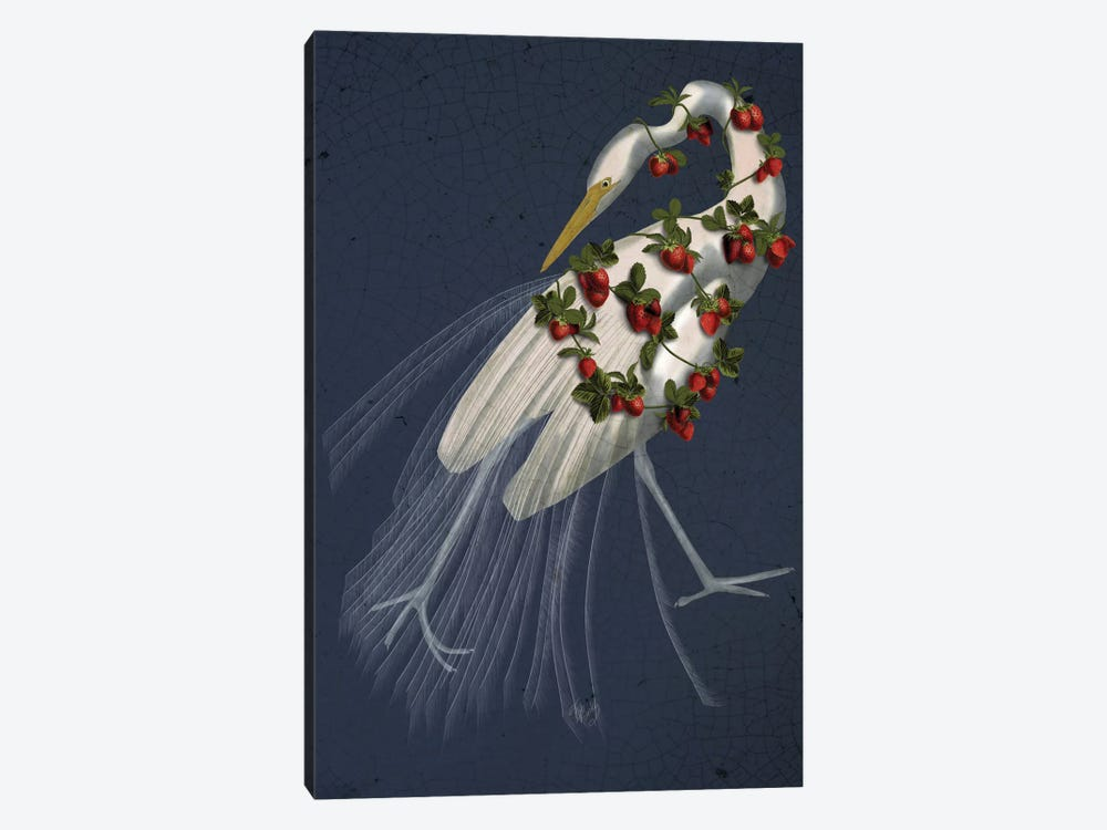 Bound White Heron On Blue by Fab Funky 1-piece Canvas Print