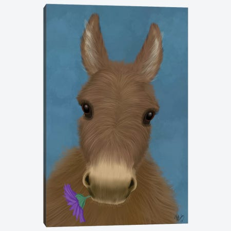 Donkey Purple Flower Canvas Print #FNK1678} by Fab Funky Canvas Wall Art