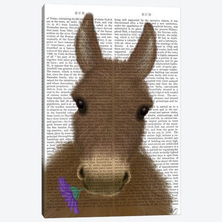 Donkey Purple Flower Book Print Canvas Print #FNK1679} by Fab Funky Canvas Art