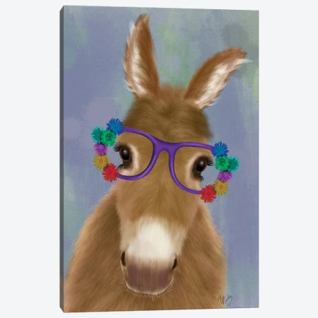 Donkey Purple Flower Glasses Canvas Print #FNK1680} by Fab Funky Canvas Art Print