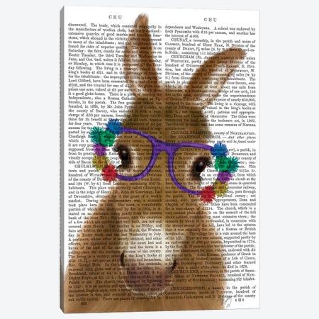 Donkey Purple Flower Glasses Book Print Canvas Print #FNK1681} by Fab Funky Canvas Art Print