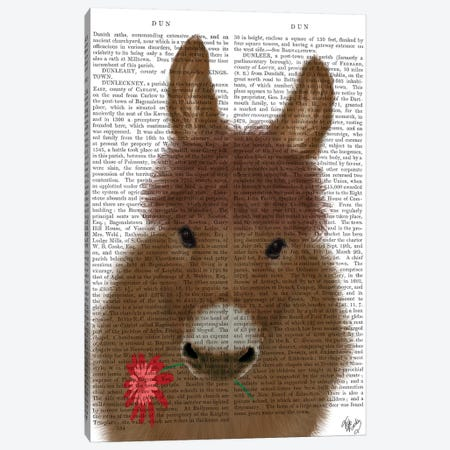 Donkey Red Flower Book Print Canvas Print #FNK1682} by Fab Funky Canvas Print