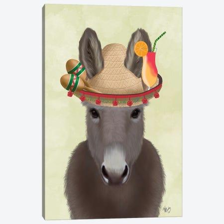 Donkey Sombrero Canvas Print #FNK1685} by Fab Funky Canvas Art