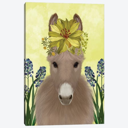 Donkey Sunflower Canvas Print #FNK1689} by Fab Funky Canvas Print