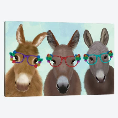 Donkey Trio Flower Glasses Canvas Print #FNK1691} by Fab Funky Canvas Wall Art