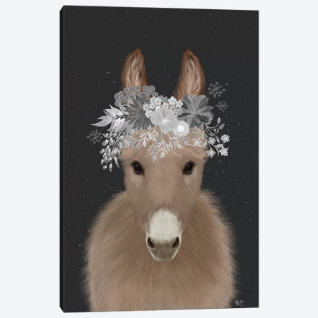 Donkey White Flowers Canvas Print #FNK1695} by Fab Funky Canvas Art Print