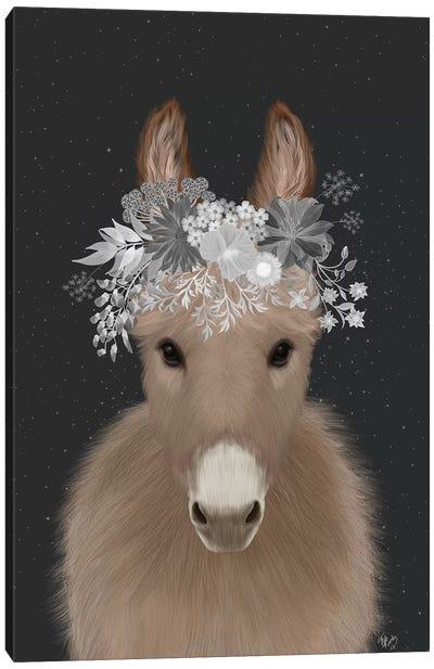 Donkey White Flowers Canvas Art Print
