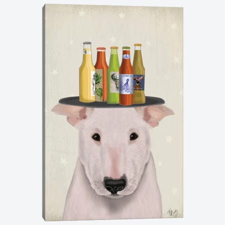 English Bull Terrier Beer Lover Canvas Print #FNK1697} by Fab Funky Canvas Print