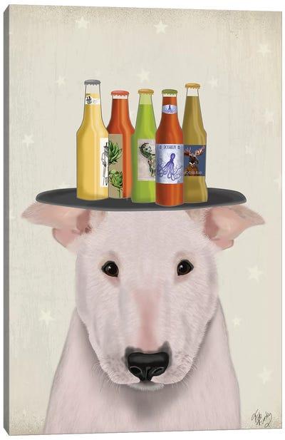 English Bull Terrier Beer Lover Canvas Art Print