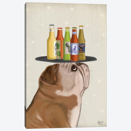 English Bulldog Beer Lover Canvas Print #FNK1698} by Fab Funky Canvas Wall Art