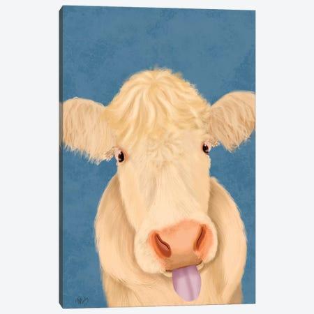 Funny Farm Cow 1 Canvas Print #FNK1704} by Fab Funky Canvas Art Print