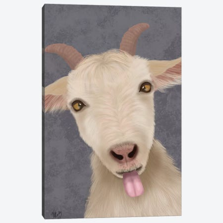 Funny Farm Goat 2 Canvas Print #FNK1713} by Fab Funky Canvas Art Print