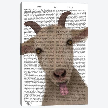 Funny Farm Goat 2 Book Print Canvas Print #FNK1714} by Fab Funky Canvas Artwork