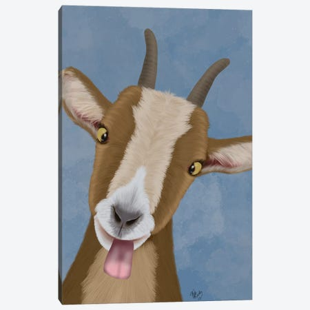Funny Farm Goat 3 Canvas Print #FNK1715} by Fab Funky Canvas Wall Art