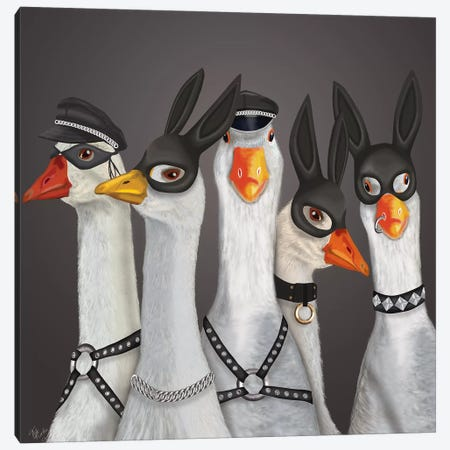 Geese Guys Canvas Print #FNK1717} by Fab Funky Canvas Artwork