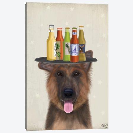 German Shepherd Beer Lover Canvas Print #FNK1719} by Fab Funky Canvas Art Print