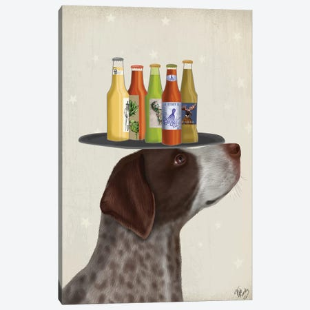 German Shorthaired Pointer Ice Cream Beer Lover Canvas Print #FNK1720} by Fab Funky Canvas Art