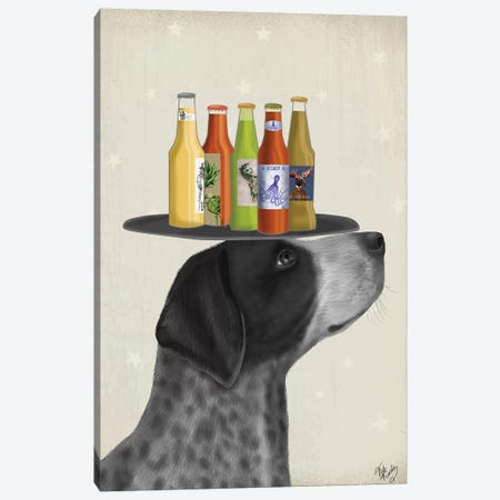 German Shorthaired Pointer Ice Cream, Black Beer Lover Canvas Print #FNK1721} by Fab Funky Canvas Art