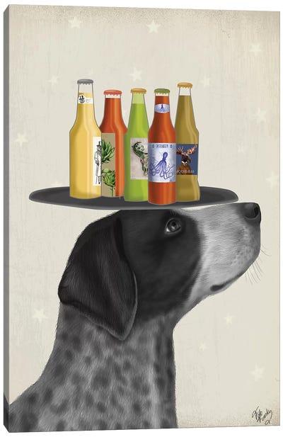 German Shorthaired Pointer Ice Cream, Black Beer Lover Canvas Art Print