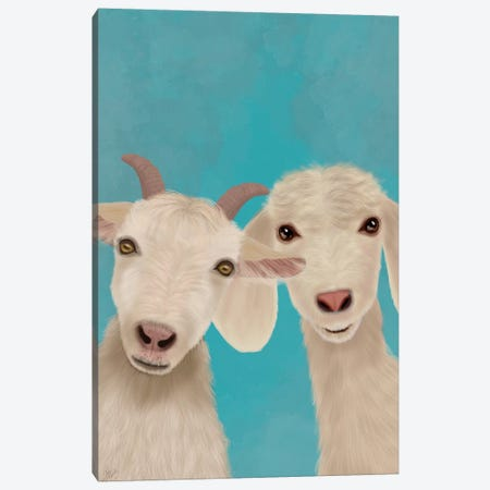 Goat Duo, Looking at You Canvas Print #FNK1733} by Fab Funky Canvas Print