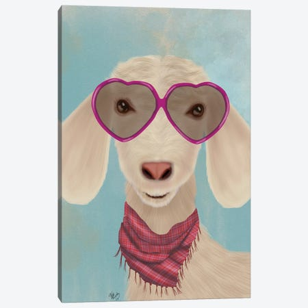 Goat Heart Glasses Canvas Print #FNK1735} by Fab Funky Canvas Artwork