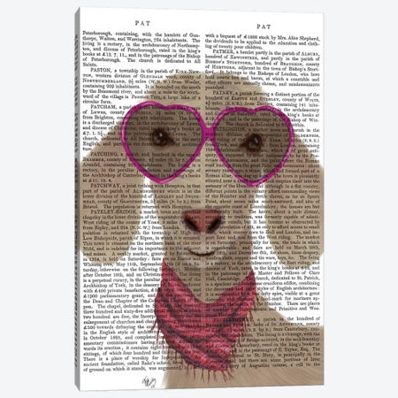 Goat Heart Glasses Book Print Canvas Print #FNK1736} by Fab Funky Canvas Wall Art
