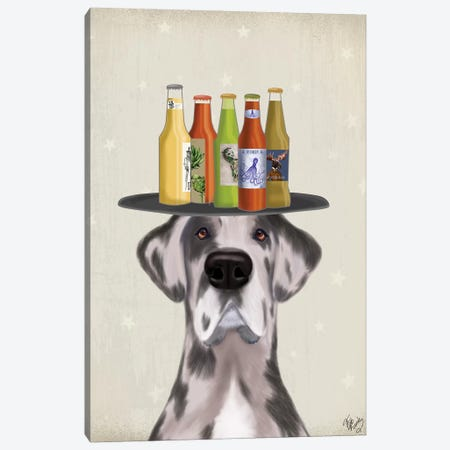 Great Dane Harlequin Beer Lover Canvas Print #FNK1744} by Fab Funky Canvas Print