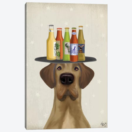 Great Dane Tan Beer Lover Canvas Print #FNK1745} by Fab Funky Canvas Print
