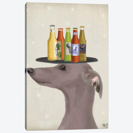Greyhound Grey Beer Lover Canvas Print #FNK1746} by Fab Funky Canvas Art Print