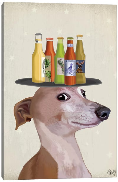 Greyhound Tan Beer Lover Canvas Art Print