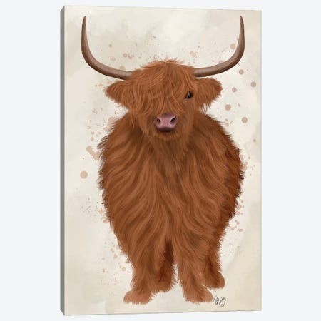Highland Cow 1, Full Canvas Print #FNK1749} by Fab Funky Canvas Wall Art