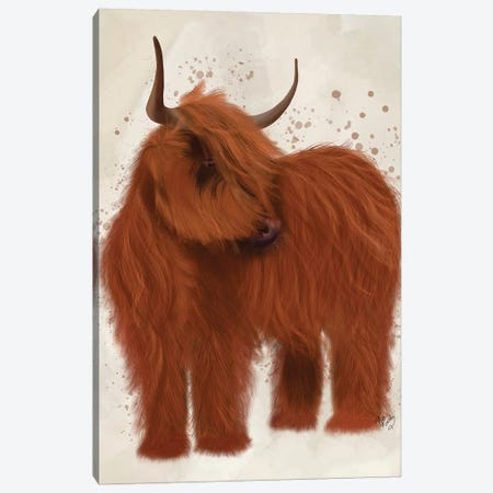 Highland Cow 2, Full Canvas Print #FNK1755} by Fab Funky Canvas Artwork