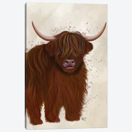 Highland Cow 5, Full Canvas Print #FNK1761} by Fab Funky Canvas Art