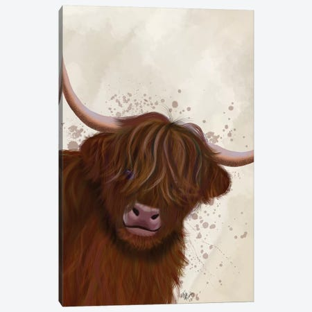 Highland Cow 5, Portrait Canvas Print #FNK1762} by Fab Funky Canvas Wall Art