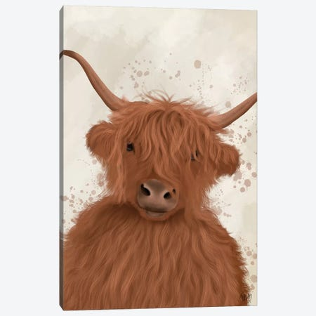 Highland Cow 8, Portrait Canvas Print #FNK1763} by Fab Funky Canvas Art