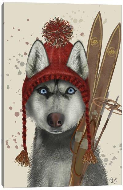 Husky, Skiing Canvas Art Print