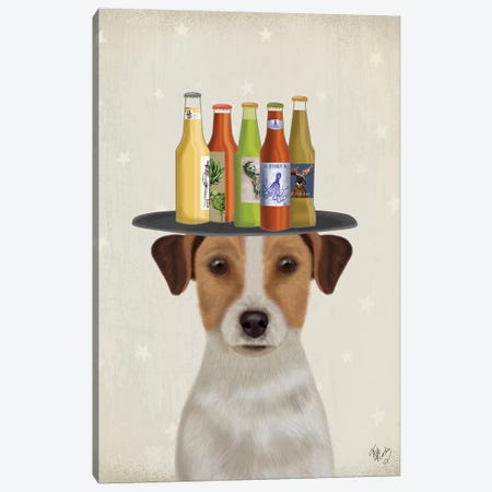 Jack Russell Beer Lover Canvas Print #FNK1776} by Fab Funky Canvas Art
